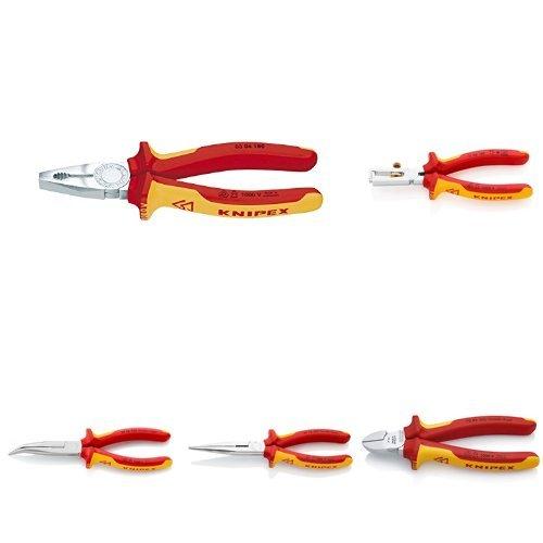 KNIPEX Set (5-teilig): Kombizange, Abisolierzange, Seitenschneider, 2 Flachrundzangen mit Schneide