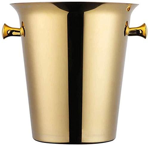 OHPA Barrel Cubo de champán de Acero Inoxidable de Doble Pared Engrosada Cubo de Hielo de Acero Inoxidable Aislado de 5 litros Dorado 0701