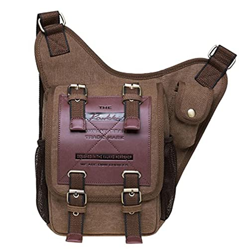 Zhandou Bolsa de mensajero de lona retro de los hombres bolsa de hombro táctica bolsa de cintura bolsa de pecho