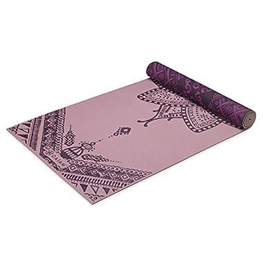 Gaiam Premium Print Reversible Yoga Mat, Inner Peace Lotus, 5/6mm