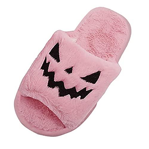 URIBAKY - Pantuflas de Halloween bordadas de peluche, para mujer, zapatillas de espuma con memoria y zapatillas antideslizantes para interior y exterior, rosa, 42 EU