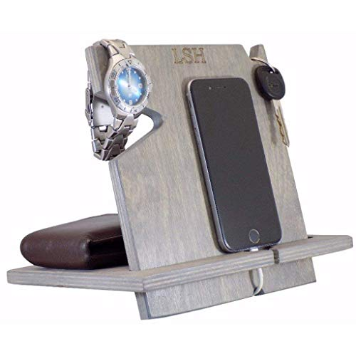 Personalized iPhone Docking Station, Valentine's Day Gifts for Men, Universal Cell Phone Dock, Chrismas Gifts for Dad, Men, Husband, Boyfriend, Cell Phone Stand/Holder/Valet, Charging Station