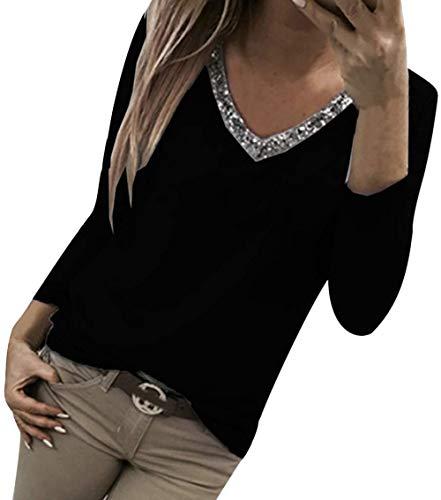 ASKSA Sommer Damen T-Shirt Kurzarm Bluse V-Ausschnitt Glitzer Pailletten Blouse Patchwork Einfarbig Oberteil Lose Tunika Tops (Z-Langarm Schwarz, L)
