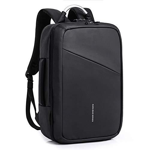 Hu-bag Anti-Diebstahl-Rucksack, Männer Business-Laptop Daypack Mit USB-Anschluss Aufladen, Passend Für 15,6-Zoll-Notebook-Computer-Rucksack Für Arbeit Hochschule,Schwarz,46 * 17 * 31cm
