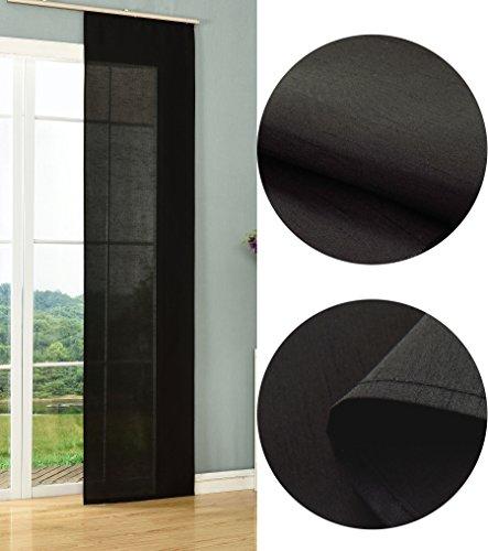 Schiebegardine Flächenvorhang Wildseide Optik Vorhang Gardine, 245x60 cm (Höhe x Breite), Schwarz, 85620