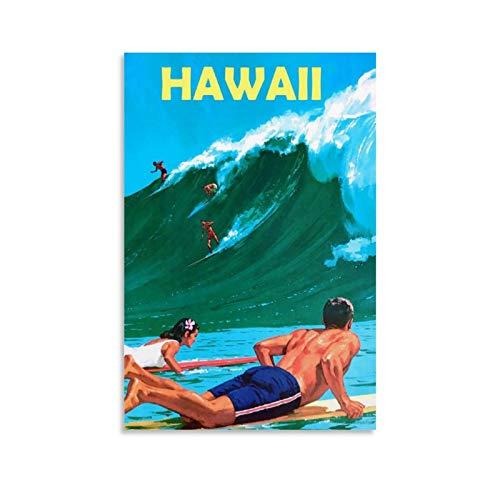 SDFSDF Hawaii-Surf-Leinwand-Wandkunst, Vintage-Reise-Poster, Bild für Zuhause, Büro, dekorative Poster, 40 x 60 cm