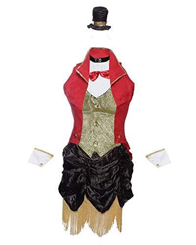 Emmas Garderobe Ringmaster Zirkus Kostüm Enthält von Kleid, Jacke, Zylinderhut und Wrist Cuffs - Dame-Abendkleid für Halloween, Hen Parties oder Karnevale UK Größen (Women: 38, with Tights)