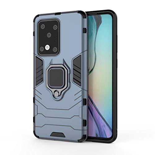 HAOYE Funda para Samsung Galaxy S20 Ultra 5G, Shockproof Carcasa con 360 Grados Giratorio Anillo Kickstand [Soporte de Coche Magnético Compatible], Hard PC y Silicona TPU Tough Armor Case. Azul