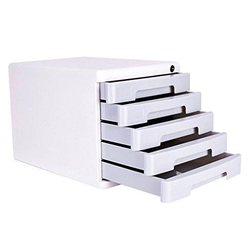 Aktenschränke KKY-Enter Desktop File Cabinet Datenverwaltung Storage 5. Stock Schublade abschließbar Dokumenten-Aufbewahrungsbox Office Desktop-Schubladen-Organizer (Farbe : Hellgrau)