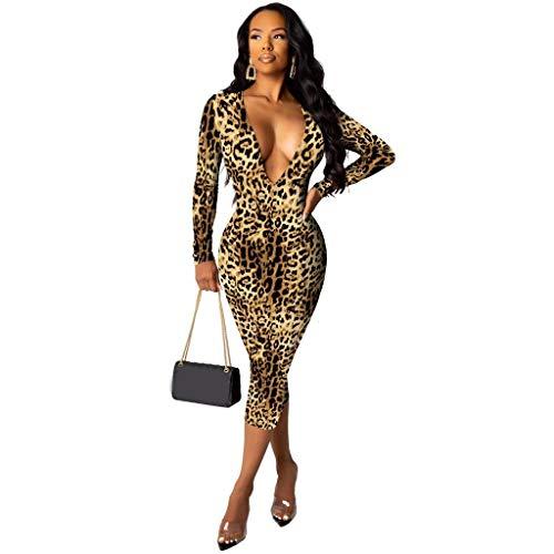 Damen Sexy Tief V Ausschnitt Kleider Leopardenmuster Langarm Cocktailkleid Bodycon Elegant A Linie Partykleid Paket Hip Kleid Sexys Abend Party Club Abendkleider (L, Kaffee)