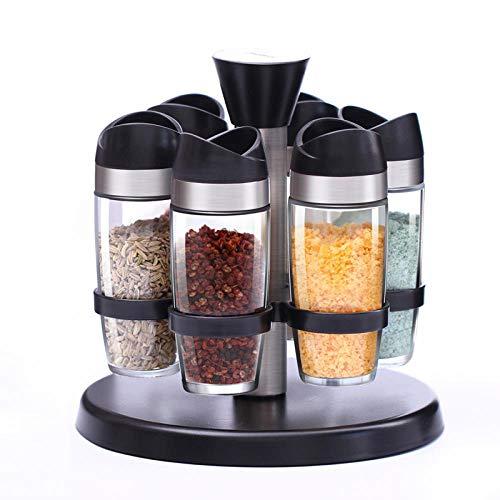 JYHYGS kruidenpotje, glazen kruidenpotje, glazen rotatiekruidenpotje, poeder-kruidendoosje, roestvrijstalen kruidendoosje