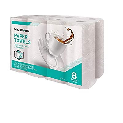 """Highmark® 3-Ply Tear-A-Size Kitchen Paper Towels, White, 11"""" x 5"""", 110 Towels Per Roll, Pack of 8 Rolls"""