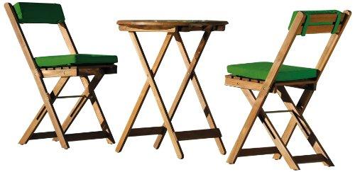 Stern 626750 Salon de Jardin Pablo 3 pièces avec 2 chaises Pliantes + 2 Paires de Coussins en Polyester Vert foncé + 1 Table Pliante Diamètre 60 cm