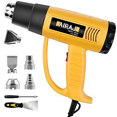 Airaj - Pistola de aire caliente (2000 W, pistola térmica, temperatura: 50 – 650 °C, 5 boquillas, velocidad infinitamente variable, 250 – 500 l/min), pistola térmica eléctrica amarilla