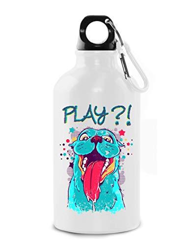 Play With Me Cute Dog Cartoon Art Tourist Water Bottle