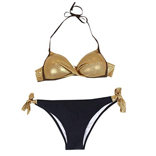 VESNIBA Traje de baño para mujer con relleno push-up y sujetador acolchado dorado XXL