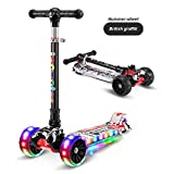 KILLM Kids Scooter 3 Roues Pliable et Hauteur inclinable et réglable Steer - avec des lumières LED...