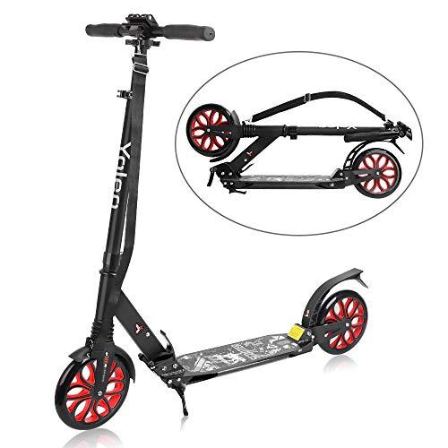 YOLEO Scooter für Erwachsene Roller Kickscooter Tretroller Cityroller für Kinder ab 10 Jahre 200mm Rad Klappbar und Höhenverstellbar mit Tragegurt (Rot)