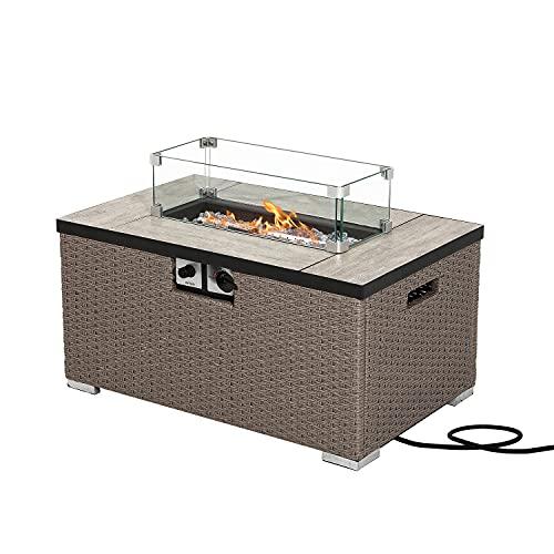SUNBURY Outdoor Propane Burning Fire Table, Grayish Brown Wicker Fire Fit Table 40,000 BTU, Waterproof Cover for Garden, Backyard