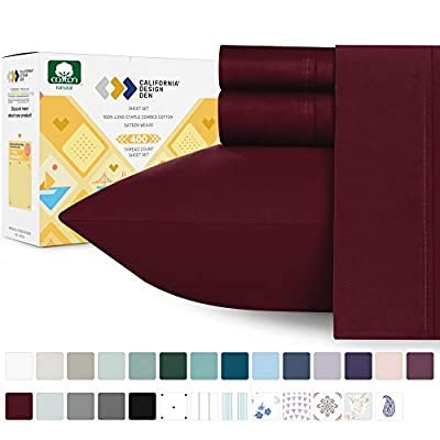 400-Thread-Count King Size Sheet Set - Long Staple Cotton Burgundy Red Wine Sheets, Sateen Weave 4 Piece Bed Sheet Set, Elasticized Deep Pocket Fits Low Profile Foam and Tall Mattresses