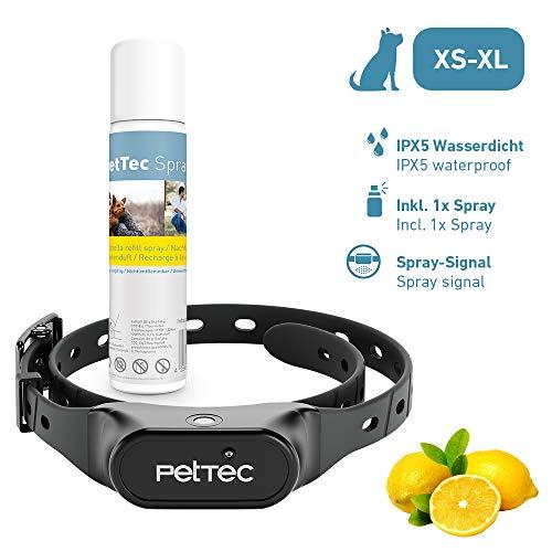 PetTec Antibell Halsband für Hunde mit automatischem Sprühsignal, inkl. 1 Spray (citronella), Erziehungshalsband stoppt bellen bei kleinen und großen Hunden