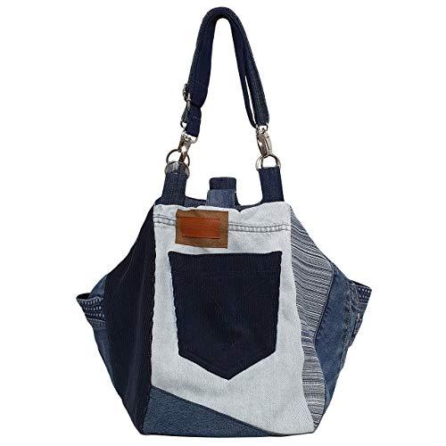 Bolso de mezclilla moderno 3en1 Bolso de mujer reciclado Bolso de hombro diario hecho a mano Bolso de compras...
