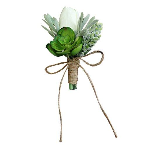 FLAMEER Hochzeit Braut Bräutigam Seide Sukkulenten Blumen Corsage Bräutigam Boutonniere - Grün 1