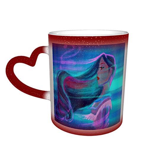 IUBBKI Pocahonta-s Taza de café que cambia de color Taza sensible al calor que cambia en el cielo Taza de té de cerámica que cambia de color, 12 onzas Azul