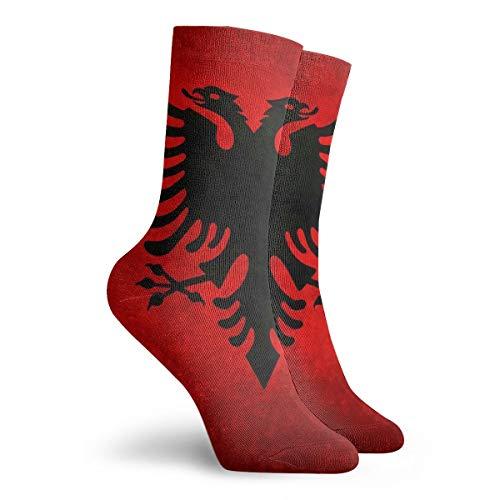 CAPSOCKS Herren Frauen Kleid Socken Albanische Flagge im Vintage Retro Stil Stiefel Knie Langschlauch für Yoga