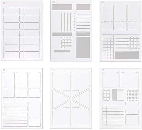 AIEX 6Pcs DIY Planner Journal Stencils Planner Template Stencils for A5 Bullet Dot Grid Journal product image