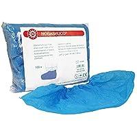 NOBASHUCO Ãœberschuhe aus blauer Polyethylenfolie Ãœberschuhe aus Folie in Einheitsgröße Für kurzzeitiges Betreten von Intensiv- und Reinraumbereichen Packung à 100 Stück