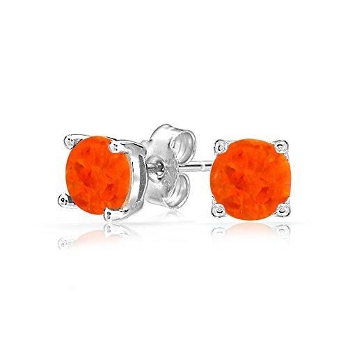 Orange Mexikanische Feueropal Runde Solitär Ohrstecker Warenkorb Set 925 Silber 6MM Oktober Geburtsstein Erstellt