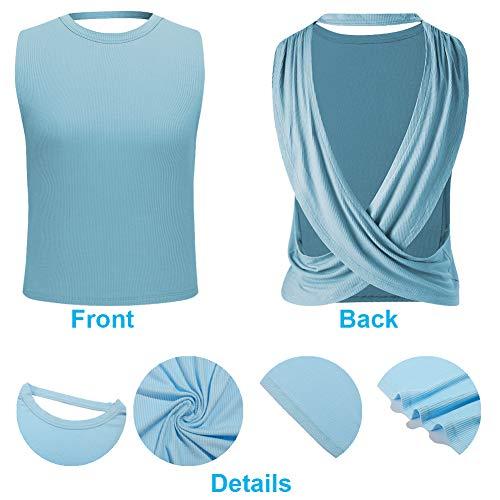 REKITA - Camiseta de tirantes para mujer, con espalda abierta, con tiras y tirantes deportivas, ligeras, camisetas de gimnasio, M, Azul / Patchwork