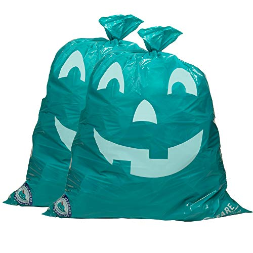 Teal Pumpkin Halloween Leaf Bags Decoration (2 Pack) - Large 36x47in Indoor/Outdoor Lawn Decor - Official Teal Pumpkin Project Gear