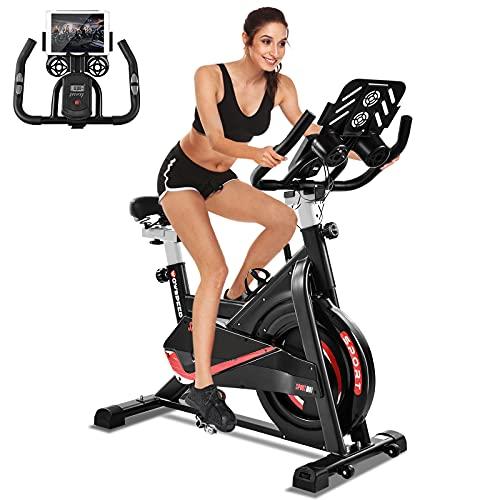Bicicleta Estatica Spinning Bicicleta Máx.150 kg, Bicicleta Spinning para interior, Bicicleta Estatica LCD, con Resistencia Ajustable, Monitor de Frecuencia Cardíaca, Soporte para Bebidas