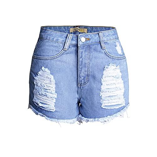 Fainash Pantalones Cortos de Mezclilla Rasgados clásicos para Mujer Moda de Cintura Alta Lavada Tendencia Todo-fósforo Pantalones Cortos de Mezclilla básicos de Talla Grande Europa y América 4XL