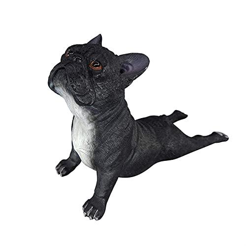 Garden Statues Dog French Bulldog Statue Bulldog Puppy Lifelike Figurine Kids Toy,Gifts,Desktop Decoration (Color : Black)