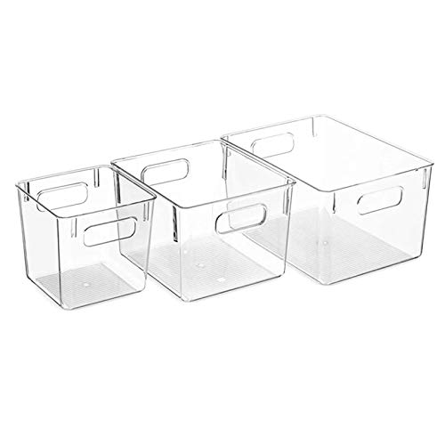 FEGSX Juego de 3 asas de corte para cocina, nevera, organizador de despensa transparente, cesta de almacenamiento de alimentos de plástico para el hogar 0414 (color claro)