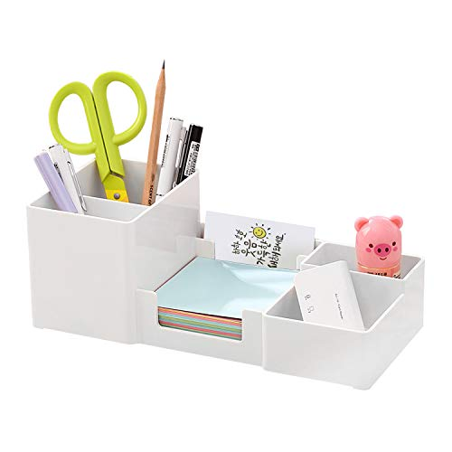 Desk Organizer, Desktop Organizer with Pencil Holders, Sticky Note Tray, Paperclip Storage and Office Accessories Caddy, Office Stationery Supplies Organizers, 6 Compartments, White