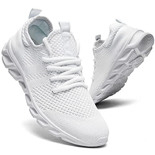 QIJGS Scarpe Ginnastica Donna Running daSneakersTennisScarpaSportiveCorsa Respirabile Shoes Lacci Fitness Basket Trekking Sneaker Interior Casual all'Aperto Bianco 38