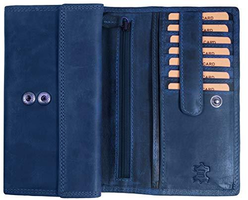 Hill Burry Echt-Leder Damen Geldbörse RFID | hochwertiges Vintage Leder Geldbeutel - XXL weiches Portemonnaie/Portmonee (Blau -)