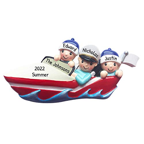 Personalized Boating Family of 3 Christmas Tree Ornament 2020 - Captain Ride Speed-Boat Friend Activity Together Year Holiday Tradition Powerboat Gift Motor-Boat Hobby Fast Yacht - Free Customization