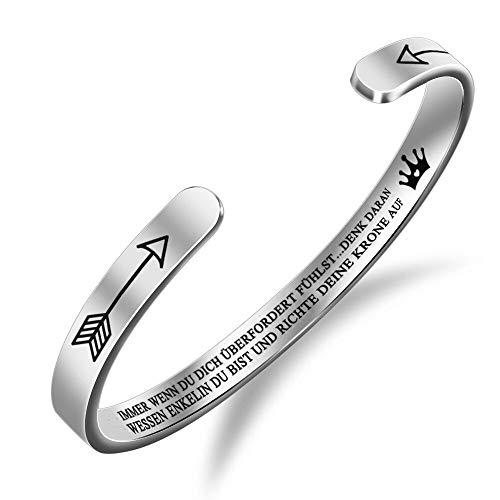 Welsky Begradigen Sie Ihre Krone Inspirierende Armband, Edelstahl Graviert Armreif Manschette Armband Geschenk Für Mädchen (Enkelin-Silber)