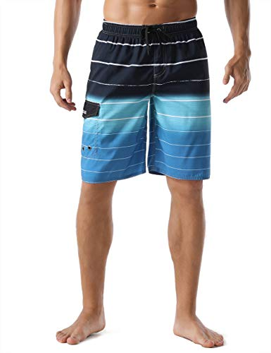 Nonwe Men's Beachwear Quick Dry Holiday Drawstring Striped Board Shorts Blue 32