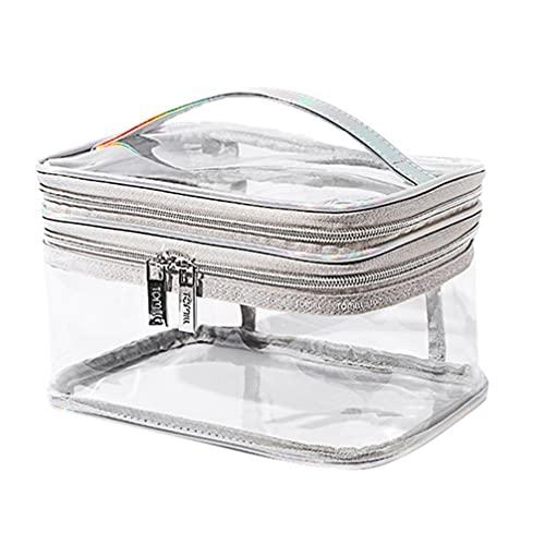 Healifty Klar Make- Up Tasche Große Kapazität Doppel Schicht wasserdichte Tragbare Reise Lagerung Pouch Cosmetic Toiletry Tasche für Home Bad Dusche Silber