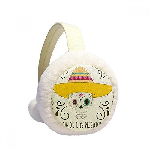 Hat Skull Mexico Happy The Day of the Dead Winter Aquecedor de orelhas de lã peluda para ambientes externos