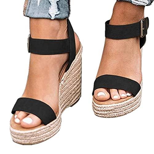 Minetom Damen Sandalen Frühling Sommer Frauen Offene Rom Schuhe Plattform Freizeitschuhe Keilabsatz Sandalen Sommerschuhe C Schwarz 38 EU