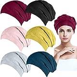 BQTQ 6 Pièces Bonnet de Nuit Doublure en Satin Slouchy Bonnet Cheveux Nuit Coton pour Femme et Homme, 6 Couleurs