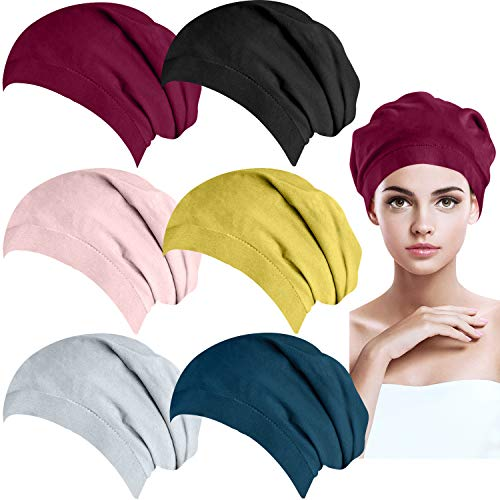 BQTQ 6 Pieces Satin Lined Sleeping Cap Slouchy Beanie Hats Cotton Night Cap Bonnet Elastic Double Layers Women Sleep Cap