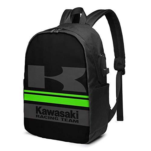 Zaino USB da viaggio Kawasaki Team Trendy, zaini da 17 pollici per computer Zaino per studenti Zaino da escursionismo casual